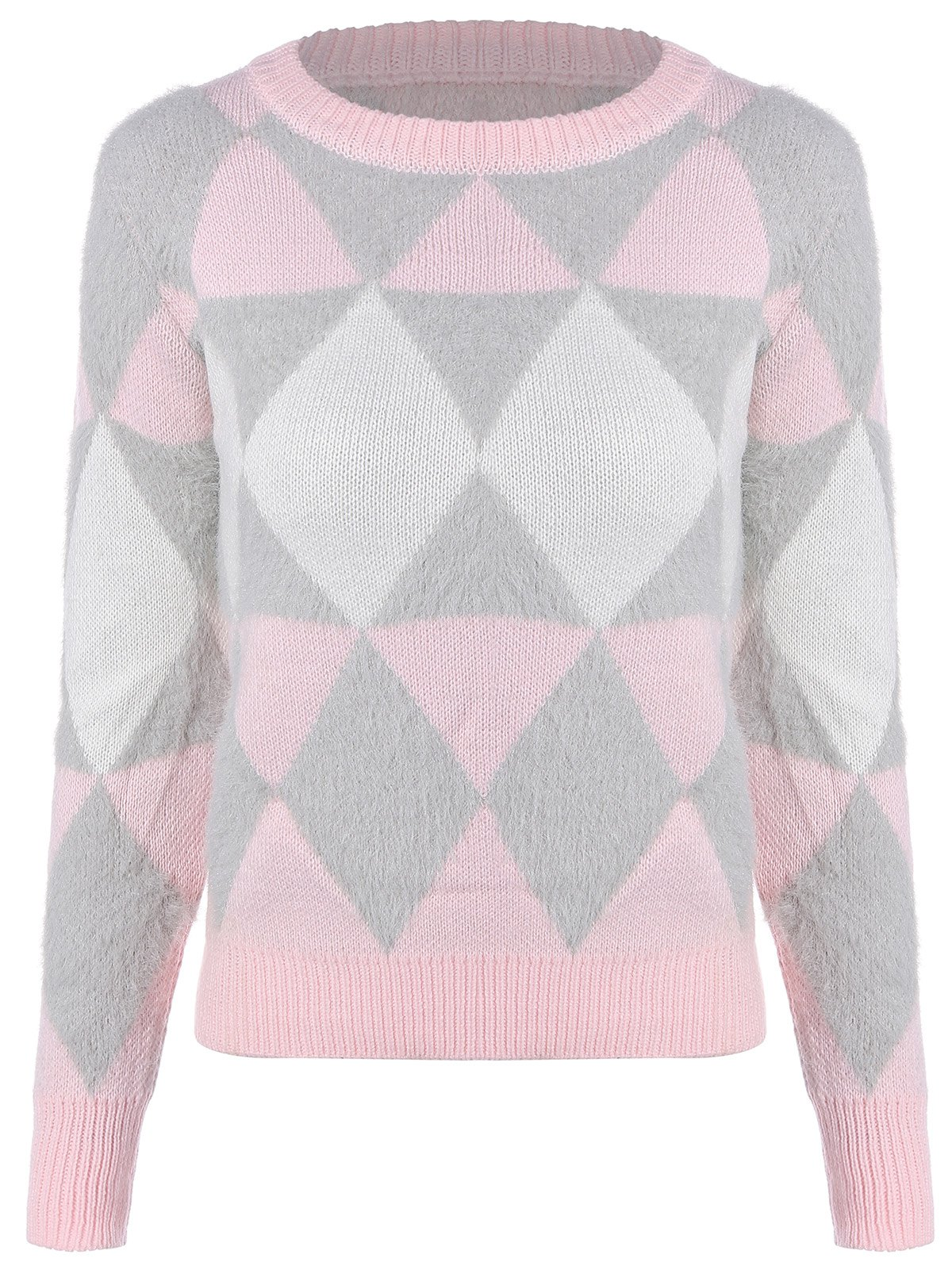 Argyle Jacquard Knitted Sweater, PINK, ONE SIZE in Sweaters & Cardigans ...