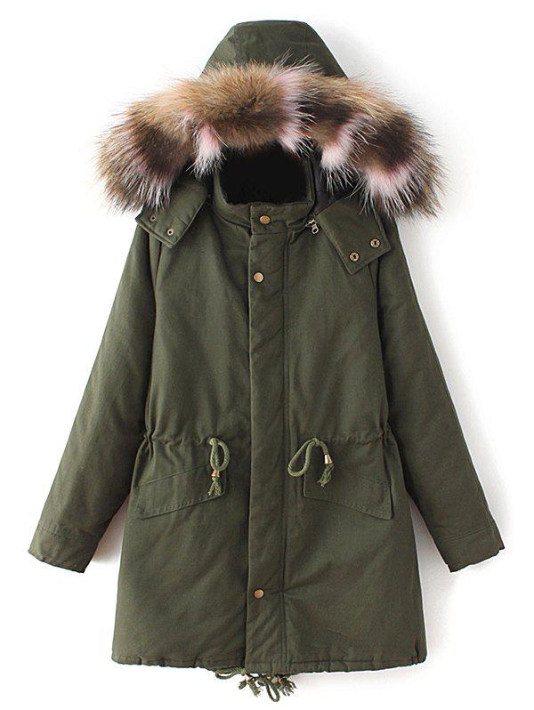 Faux Fur Collar Quilted ParkaWomen<br><br><br>Size: S<br>Color: ARMY GREEN