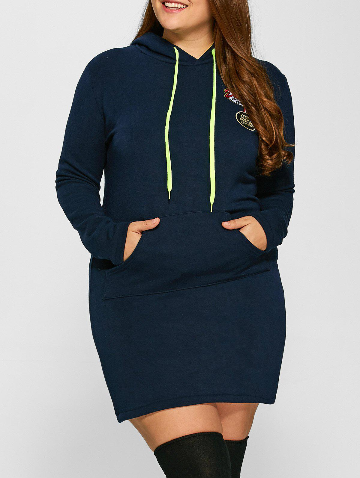 Plus Size Front Pocket Hoodie Dress - DEEP BLUE XL