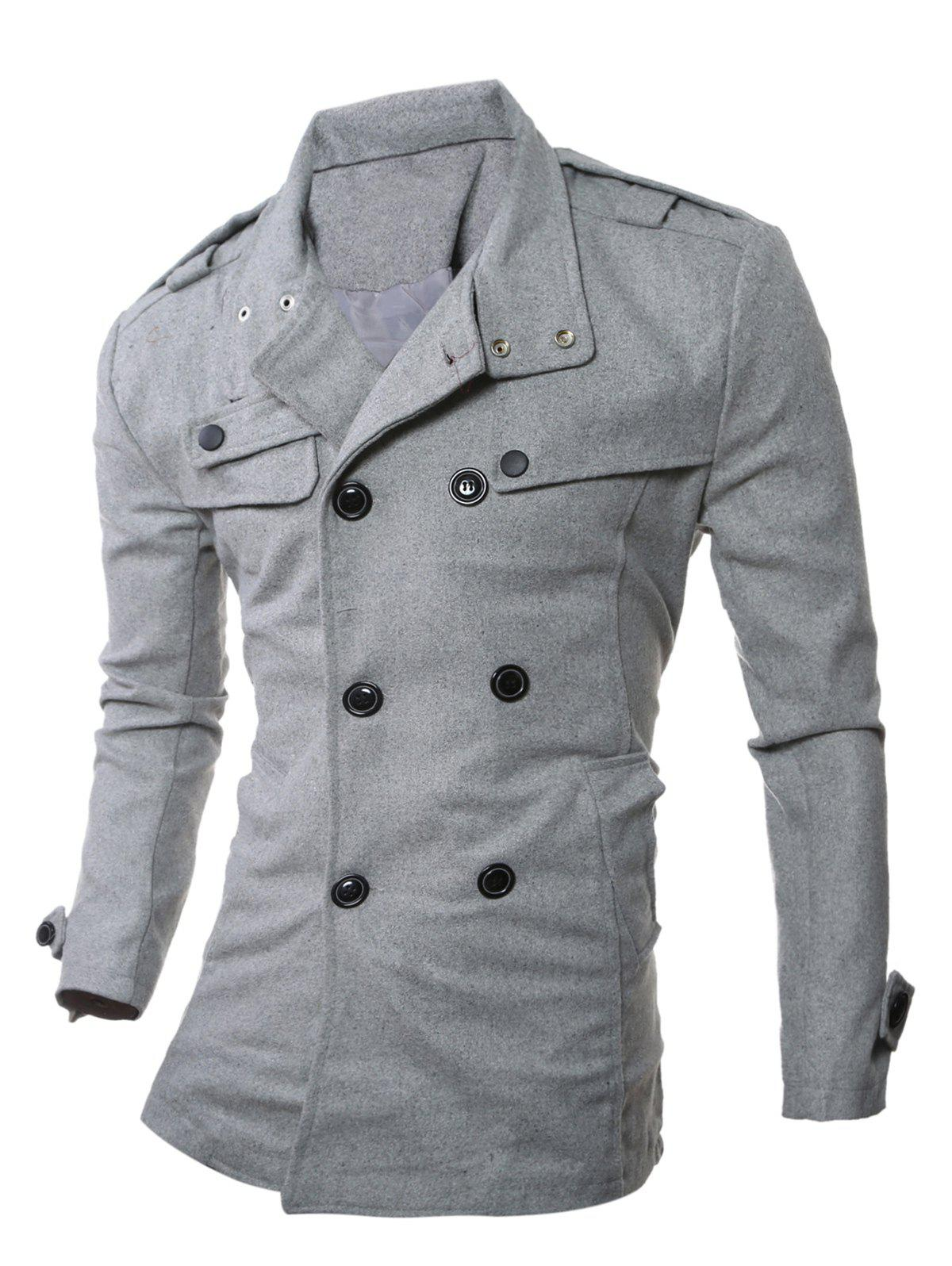 Double Breasted Epaulet Embellished Woolen Coat - GRAY 2XL