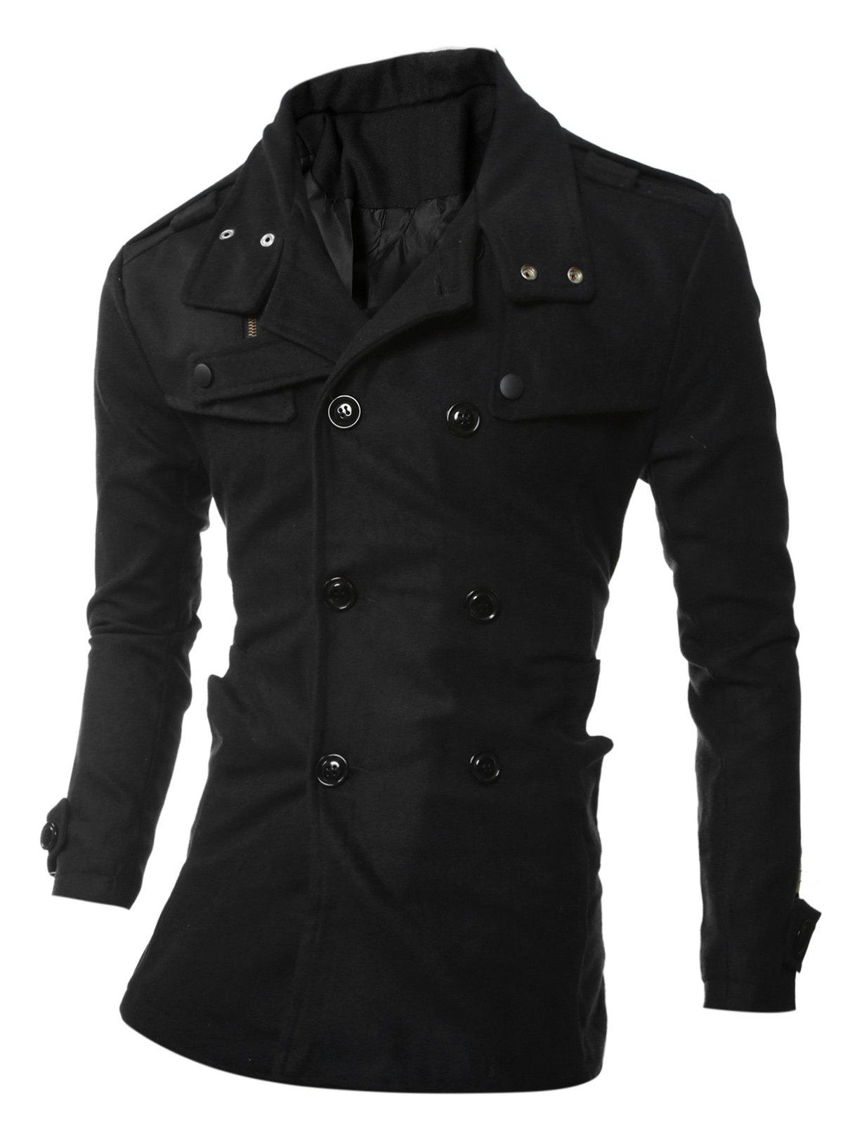 Double Breasted Epaulet Embellished Woolen Coat - BLACK 2XL