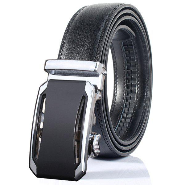 Faux Leather Stylish Automatic Buckle Wide Belt - SILVER