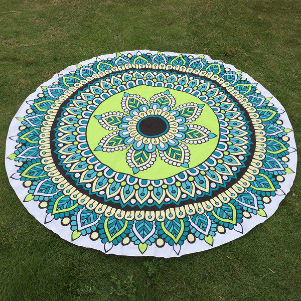 Ethnic Flower and Leaf Print Round Beach Throw - GREEN ONE SIZE