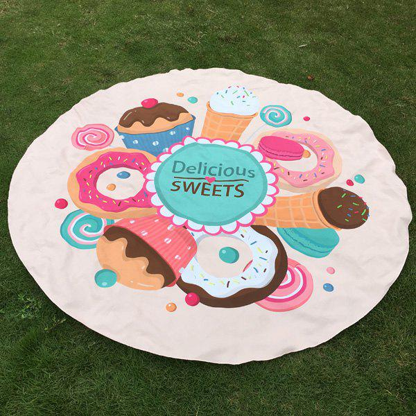 Delicious Sweets Cake Donut Print Round Beach Throw - OFF WHITE ONE SIZE