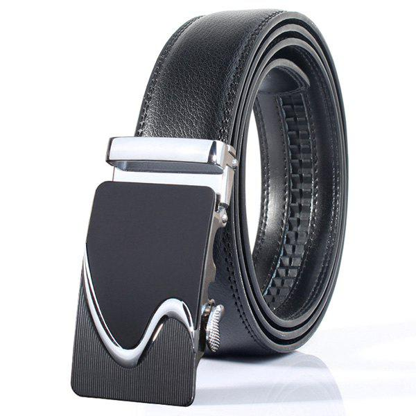 Polished S Shape Stylish Automatic Buckle Wide Belt - SILVER