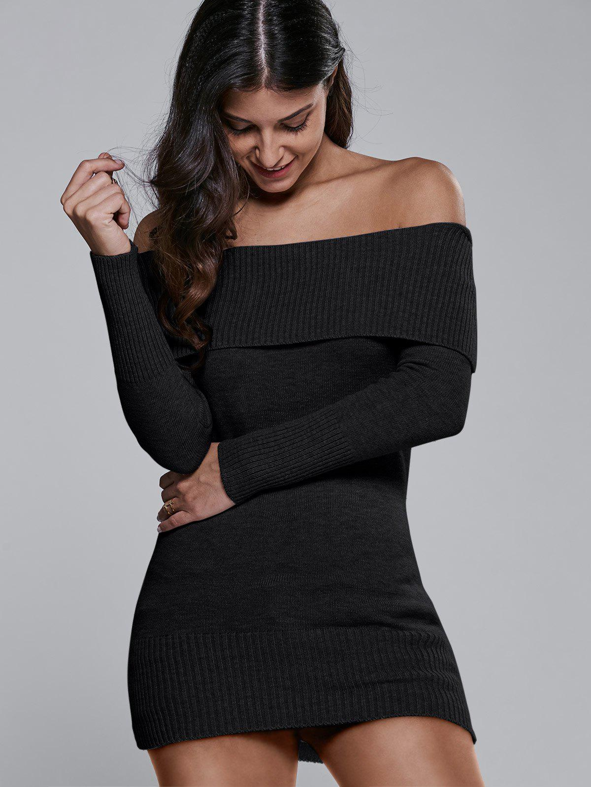Off The Shoulder Fitted Mini Sweater Dress, BLACK, ONE SIZE in ...