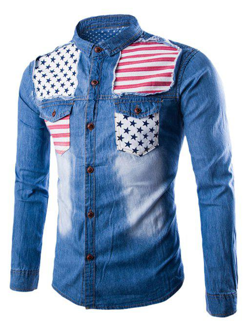 Stars and Stripes Applique Denim Shirt - LIGHT BLUE XL