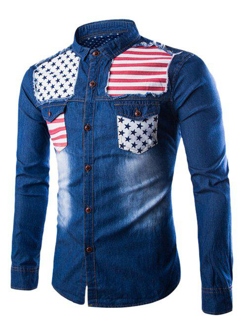Stars and Stripes Applique Denim Shirt - DEEP BLUE XL