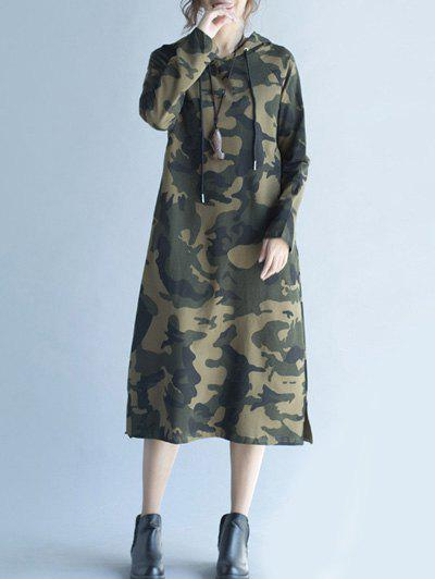 Camouflage Print Hoodie DressWomen<br><br><br>Size: 2XL<br>Color: CAMOUFLAGE COLOR