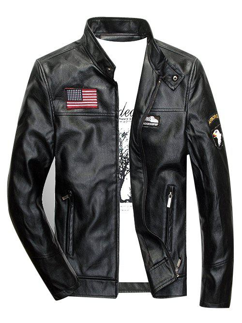 Zippered Patch Design Faux Leather Jacket - BLACK L