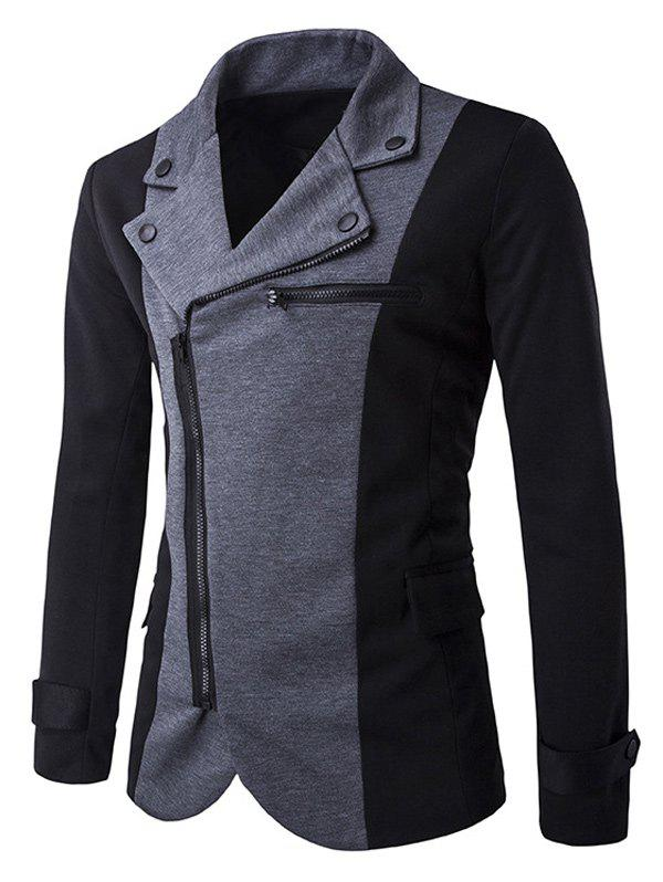 Zipper Design Turndown Collar Color Block Spliced Jacket