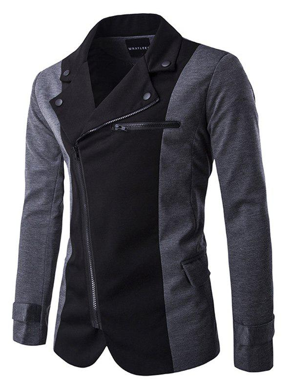 Zipper Design Turndown Collar Color Block Spliced Jacket - BLACK L