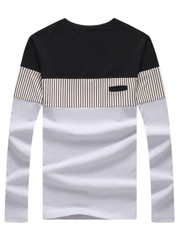 Long Sleeve Striped Color Block Tee color block striped long sleeve top