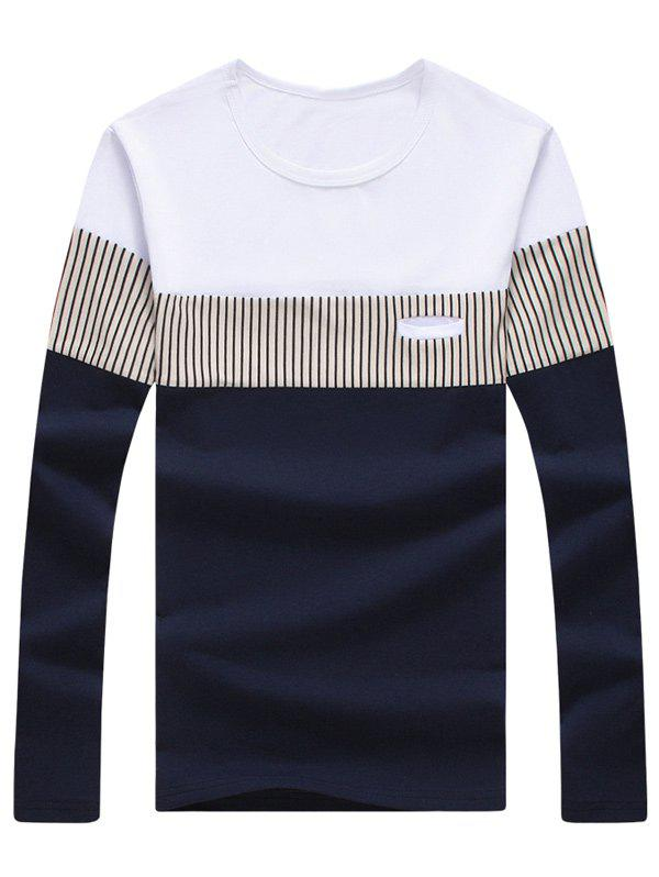 Long Sleeve Striped Color Block Tee plus curved hem color block striped tee