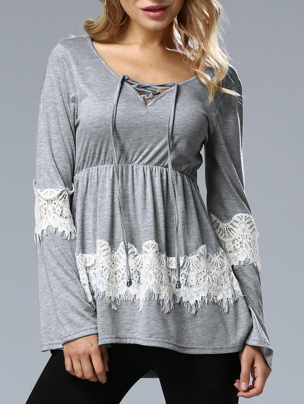 Long Sleeve Lace Up Top - GRAY M