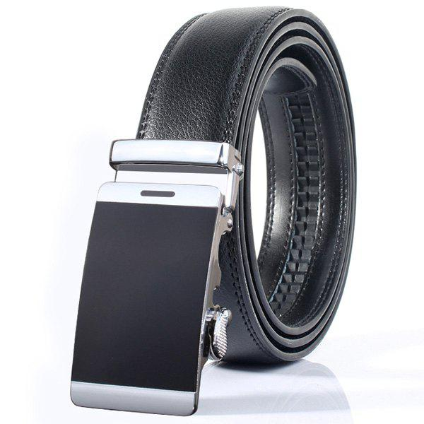 Smooth Surface Stylish Automatic Buckle Wide Belt - BLACK