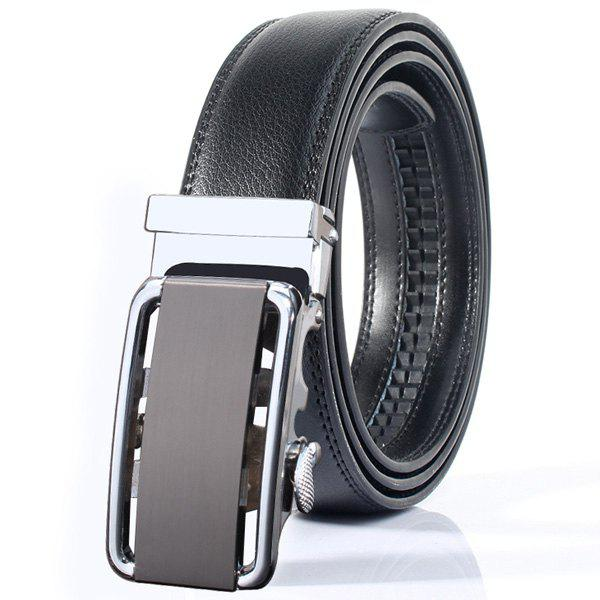 Rounded Rectangle Automatic Buckle Stylish Wide Belt - SILVER