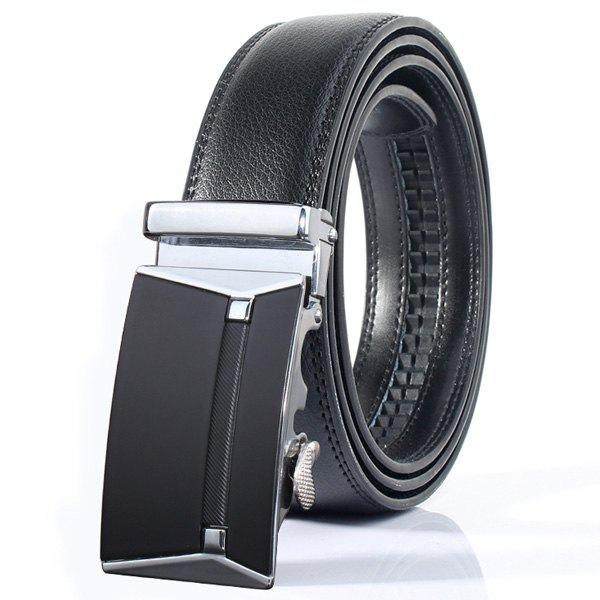 Polished Rectangle Automatic Buckle Stylish Wide Belt - SILVER