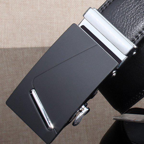 Automatic Buckle Polished Bar Wide Belt - SILVER