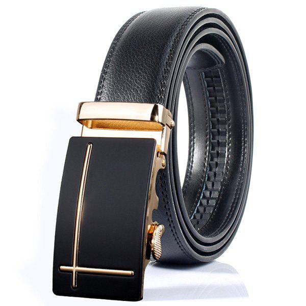 Perpendicular Line Polished Automatic Buckle Wide Belt - GOLDEN