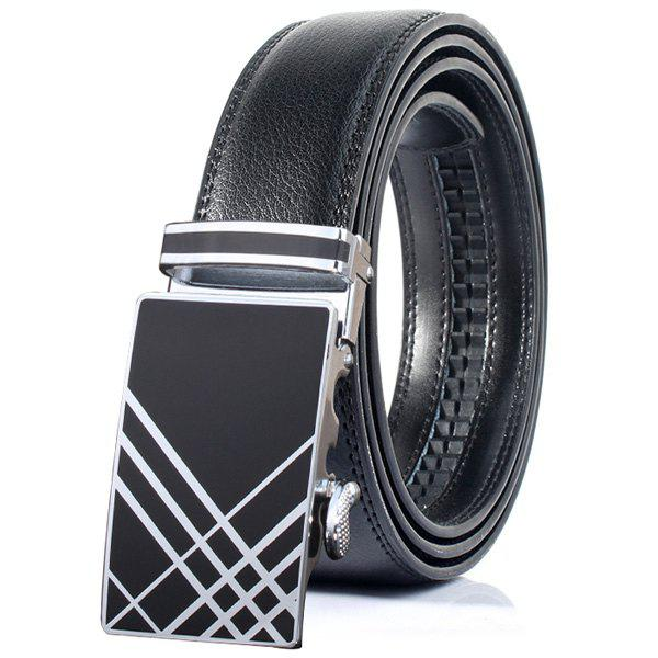 Plaid Print Stylish Automatic Buckle Wide Belt - BLACK