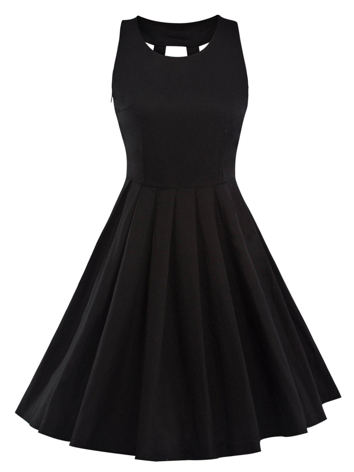 Vintage Pleated Fit and Flare Dress - BLACK 2XL