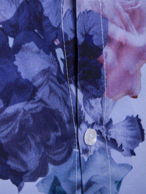 Florals Wash Painting Print Long Sleeve Shirt - BLUE M