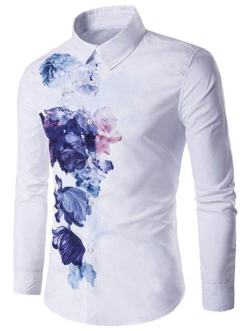 Florals Wash Painting Print Long Sleeve Shirt - WHITE L