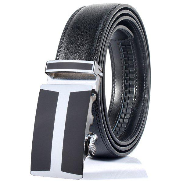 H Shape Simple Automatic Buckle Wide BeltAccessories<br><br><br>Color: BLACK