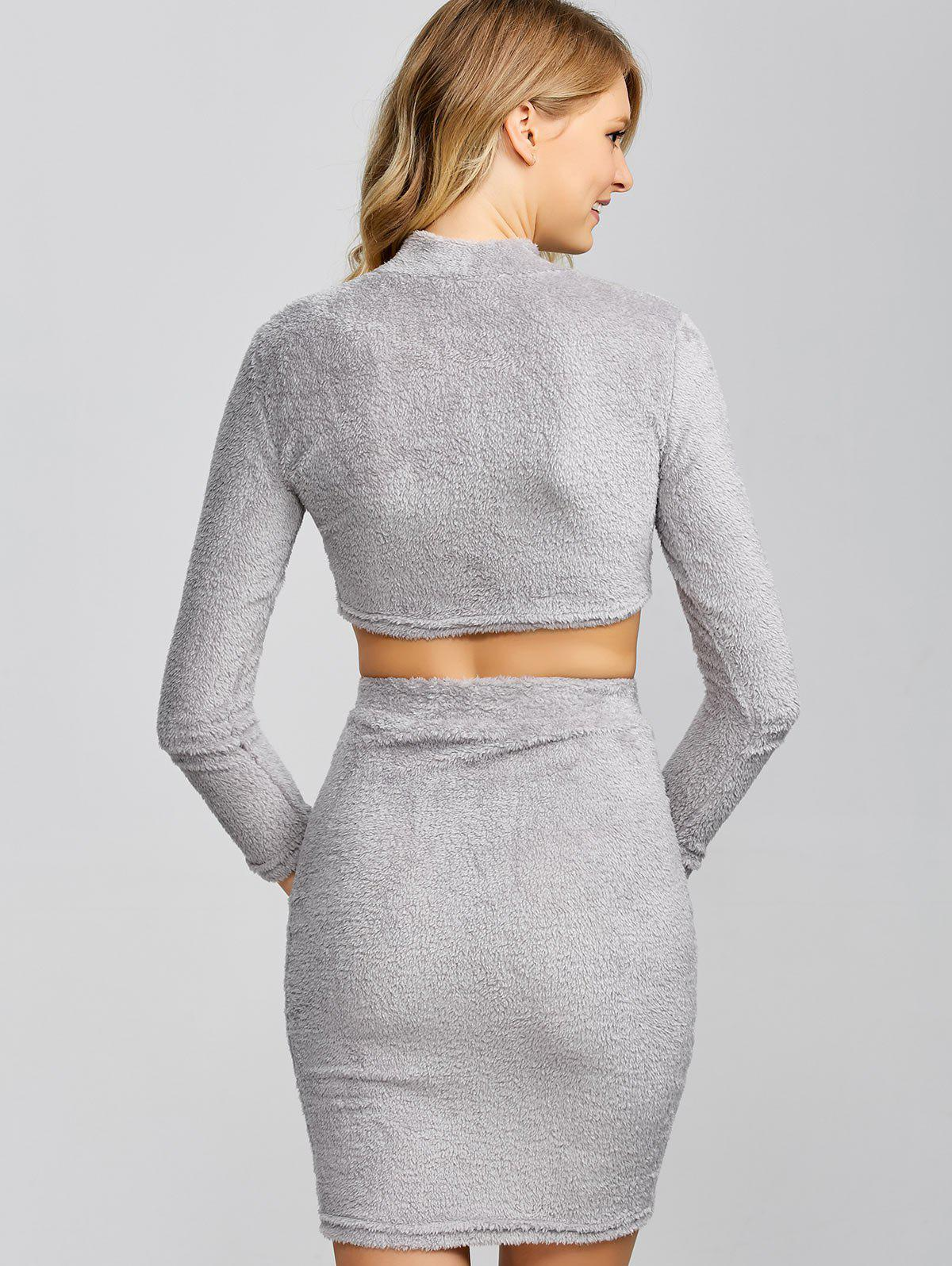 Cropped Sweater and Knitted Bodycon Skirt - GRAY L