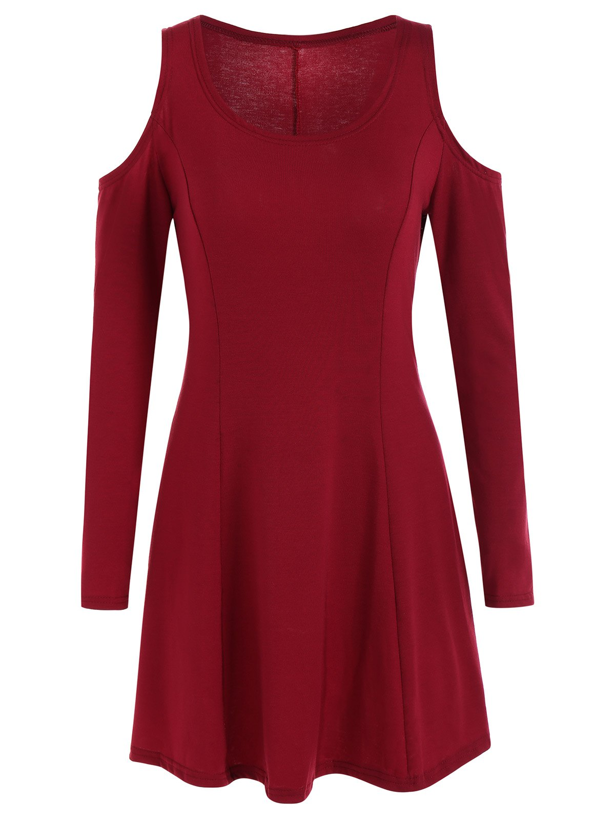 Long Sleeve Cold Shoulder Dress - DEEP RED M