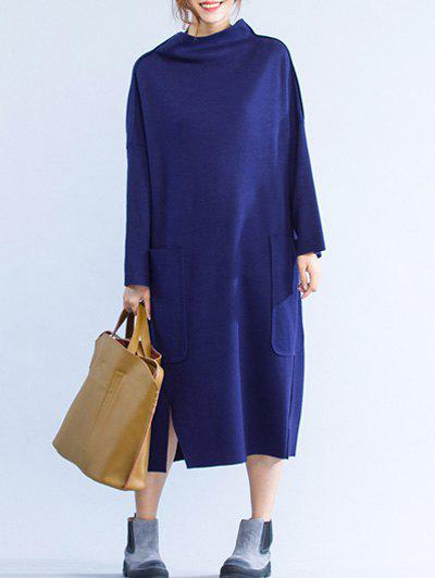 Slit Double Pocket Loose Dress - DEEP BLUE ONE SIZE