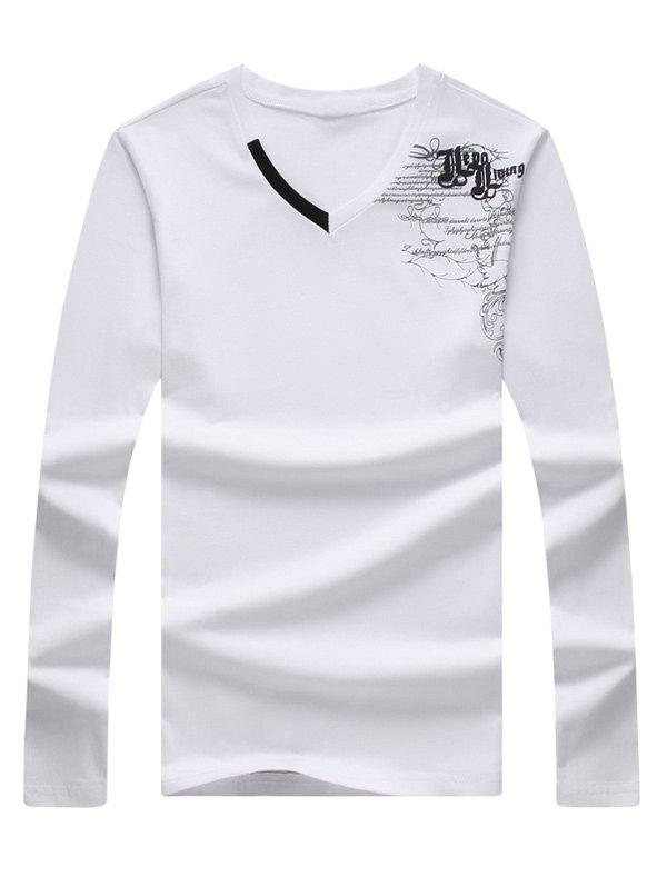 Graphic Printed Long Sleeve V Neck Tee long sleeve round neck graphic printed tee