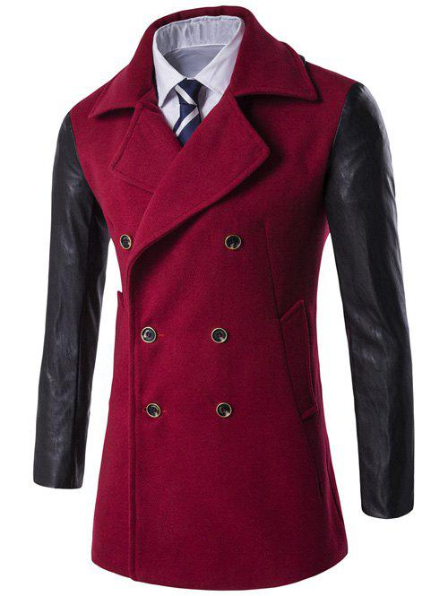 Turndown Collar PU-Leather Spliced Double Breasted Coat - RED XL