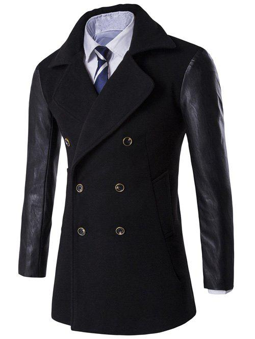 Turndown Collar PU-Leather Spliced Double Breasted Coat - BLACK 3XL