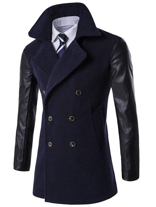 Turndown Collar PU-Leather Spliced Double Breasted Coat - CADETBLUE L