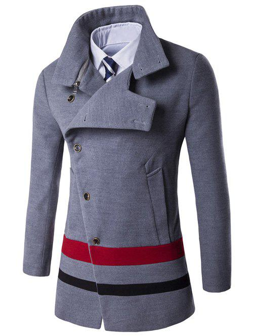 Oblique Single Breasted Stirpe Design Wool Coat - GRAY L