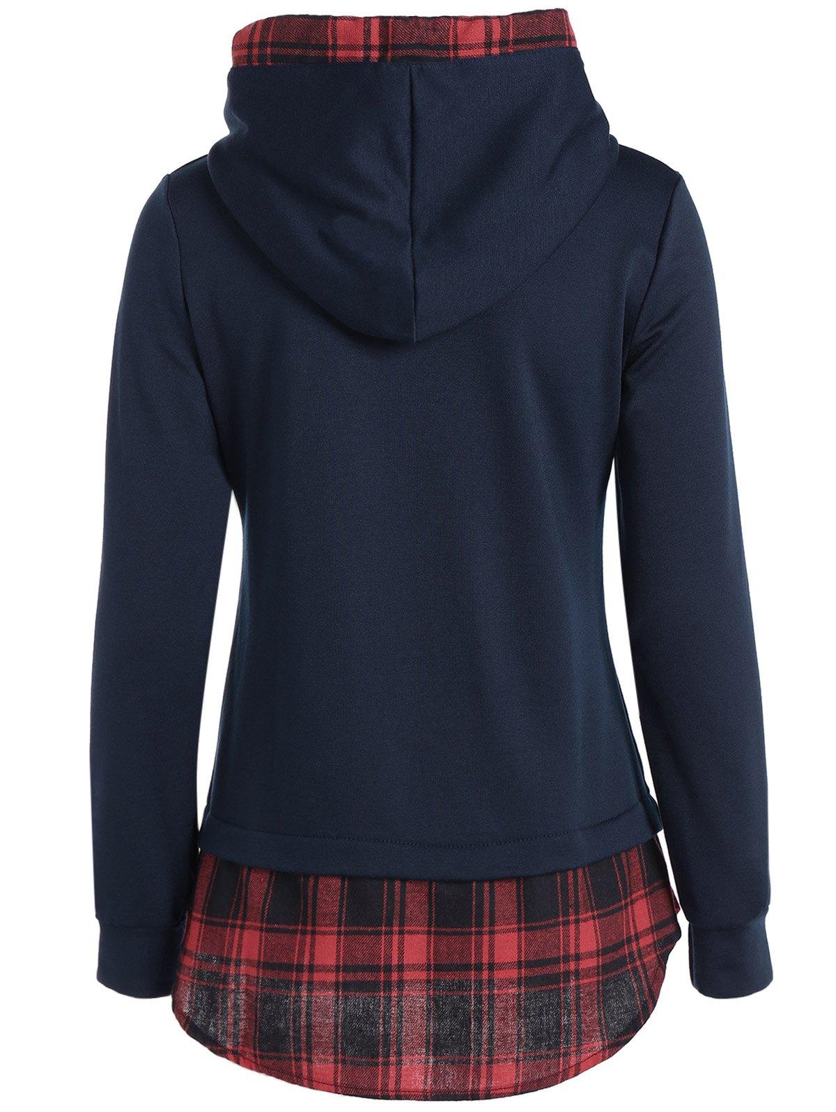 Plaid Splicing Drawstring Hoodie - PURPLISH BLUE L