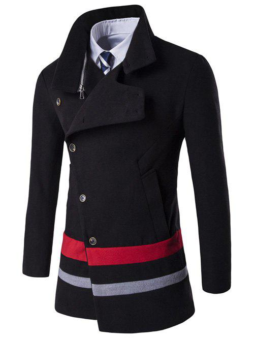 Oblique Single Breasted Stirpe Design Wool Coat - BLACK XL
