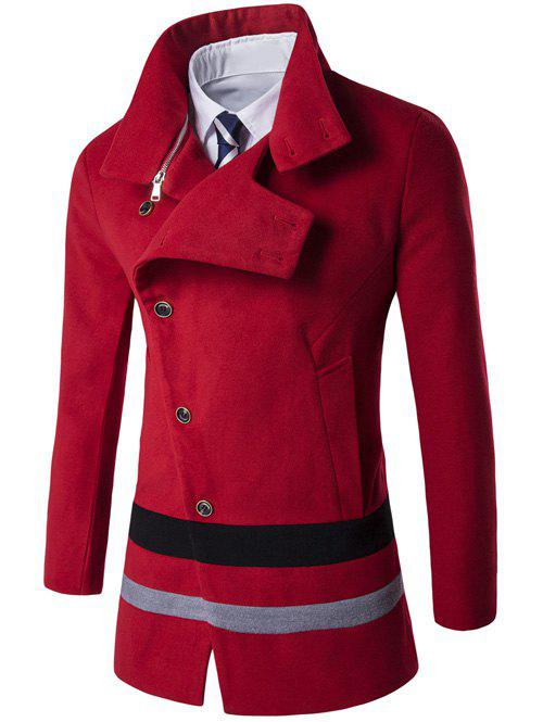 Oblique Single Breasted Stirpe Design Wool Coat - RED L