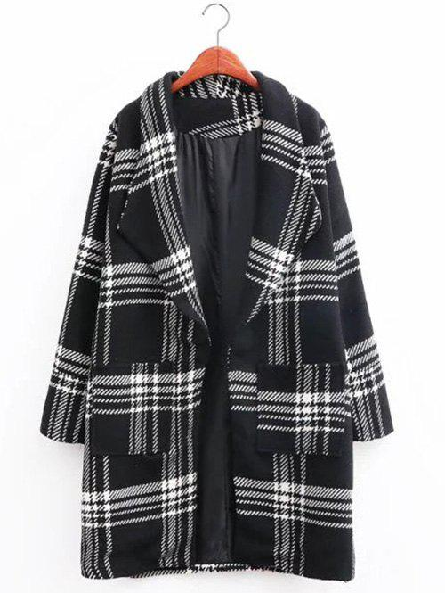 Oversized Plaid Long Wool Coat - BLACK L