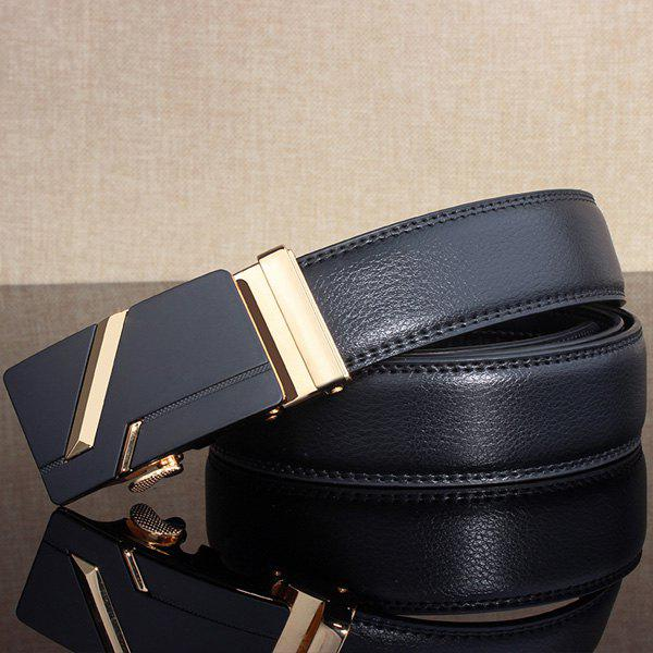 Paralleled Line Simple Automatic Buckle Wide Belt - GOLDEN