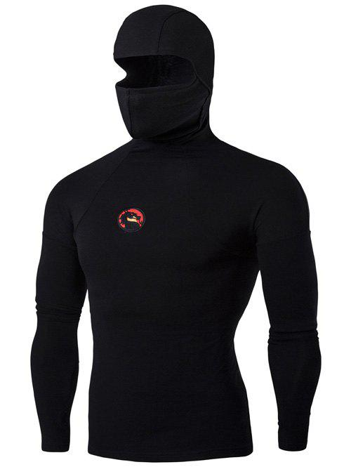 Dragon Applique Hooded with Mask Long Sleeve T-Shirt - BLACK XL
