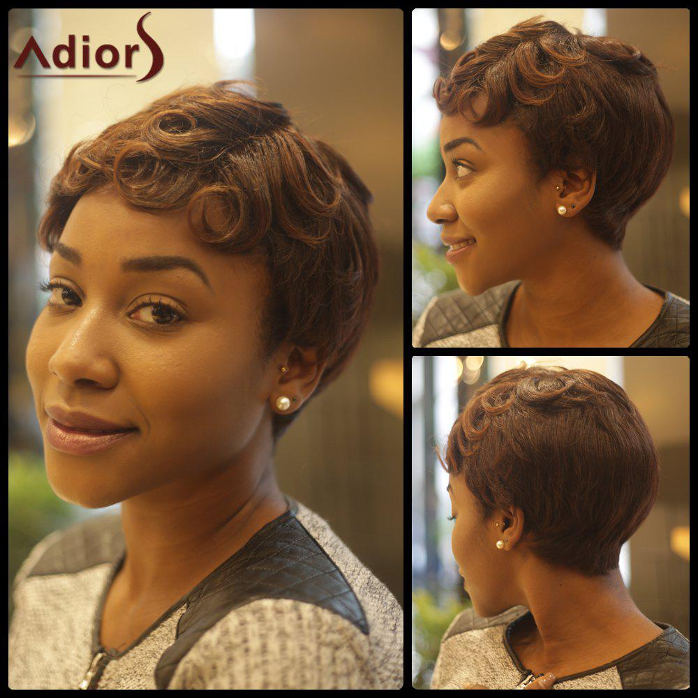 Fluffy Short Curly Inclined Bang Synthetic Wig - COLORMIX