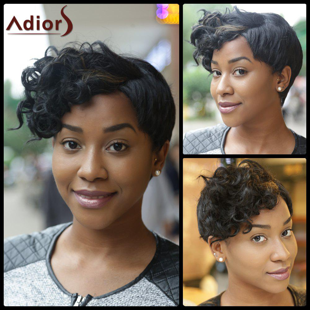 Pixie Cut Ultrashort Curly Oblique Bang Synthetic Wig - COLORMIX