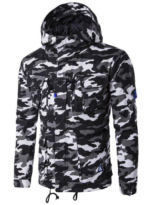 Camouflage Hooded Multi Pockets Jacket - BLACK 2XL