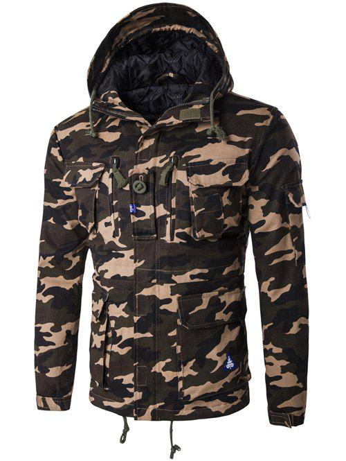Camouflage Hooded Multi Pockets Jacket - ARMY GREEN M