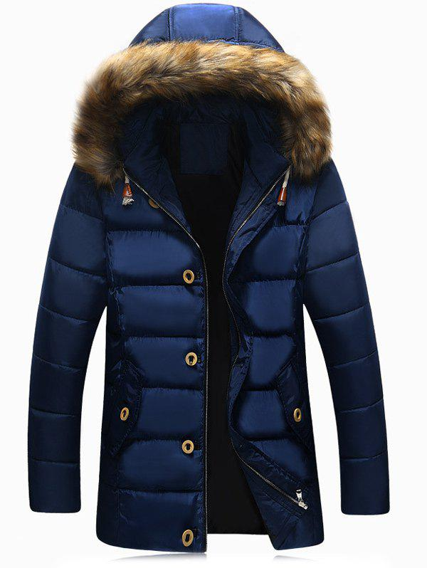 Faux Fur Hooded Button Pocket Zip Up Padded Jacket - BLUE M