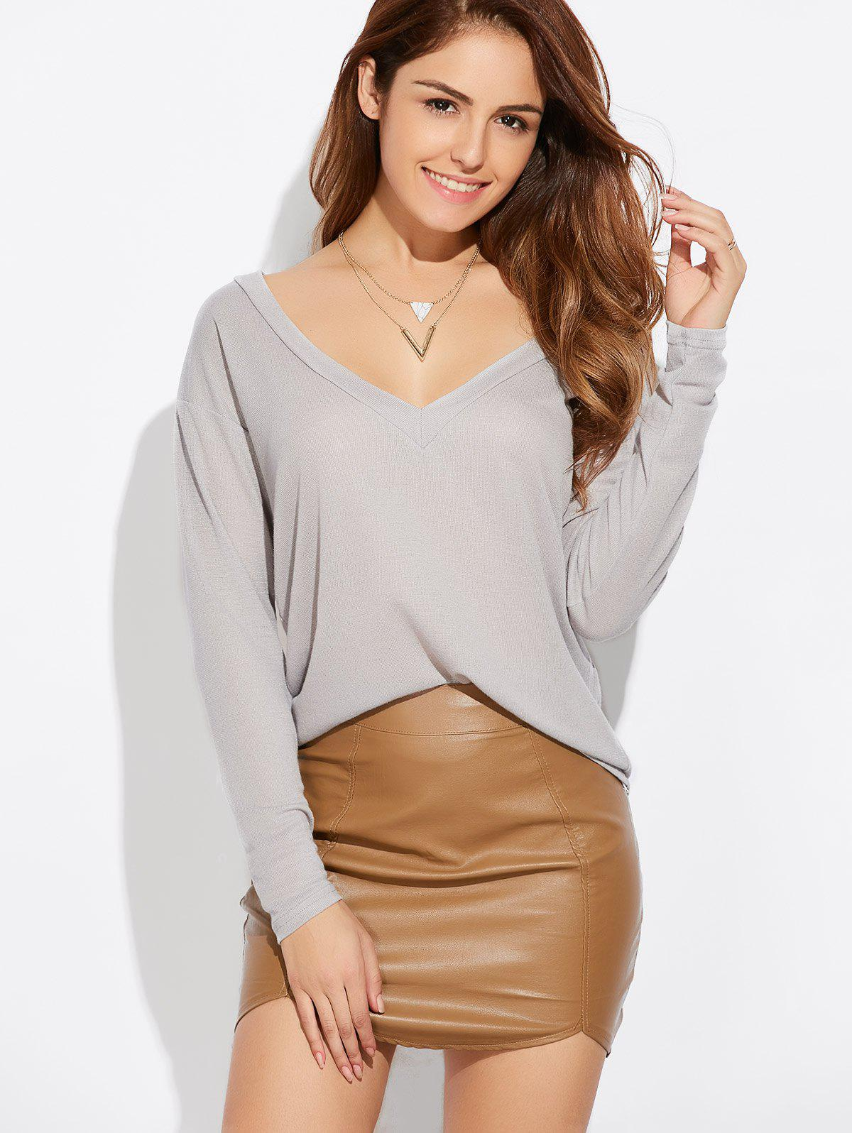 Casual Plunging Neck Loose Knitwear - GRAY M
