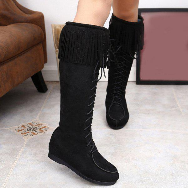 Suede Lace Up Fringe Mid Calf Boots lace up slouch mid calf boots